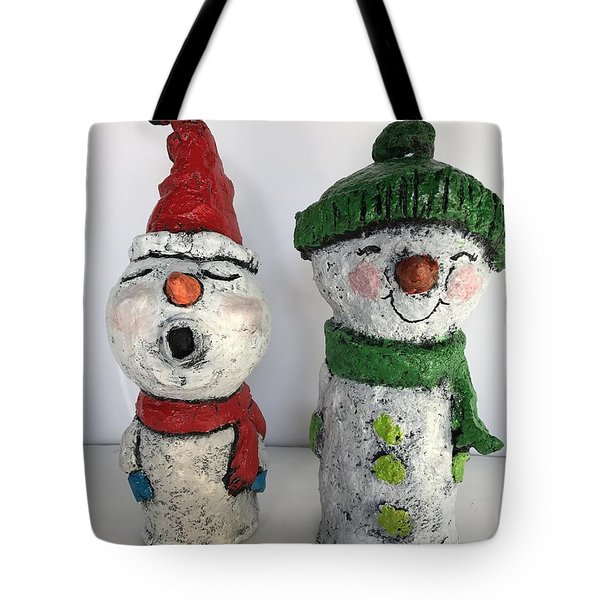 Caroling Snowmen Tote Bag by Vickie Scarlett-Fisher