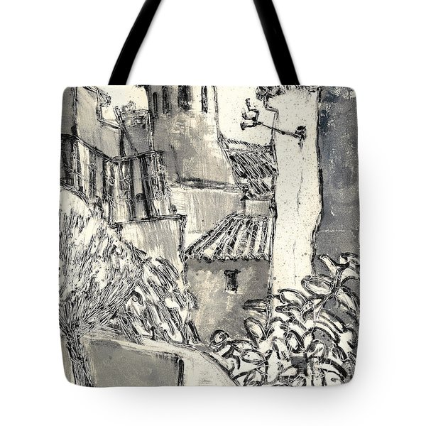 Tote Bag featuring the painting Caromb Village In Provence by Martin Stankewitz