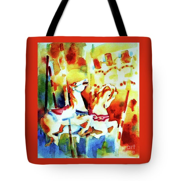 Tote Bag featuring the painting Carousal 4 by Kathy Braud