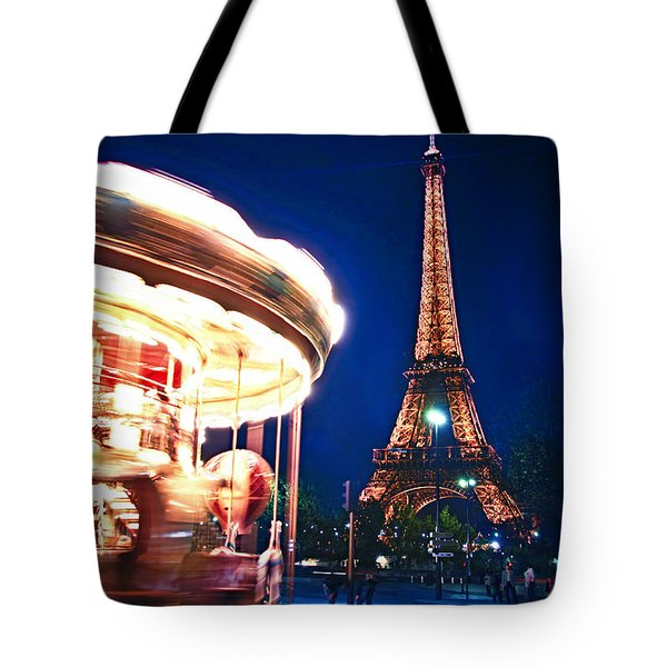 Carousel And Eiffel Tower Tote Bag by Elena Elisseeva