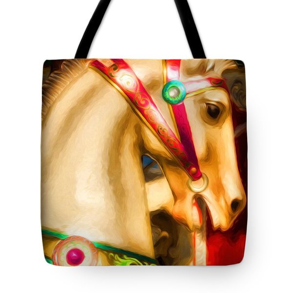 Tote Bag featuring the photograph Carousel Colors by Mel Steinhauer