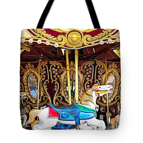Carousel Erie County Fair 2017 Expressionist Effect Tote Bag