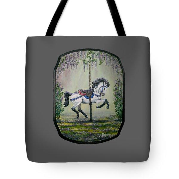 Carousel Garden The White Buckskin Stallion Tote Bag
