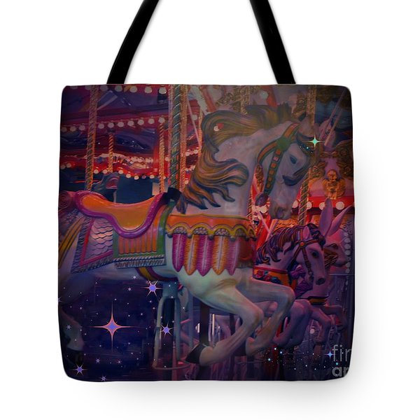Carousel Horse Tote Bag by Annie Gibbons