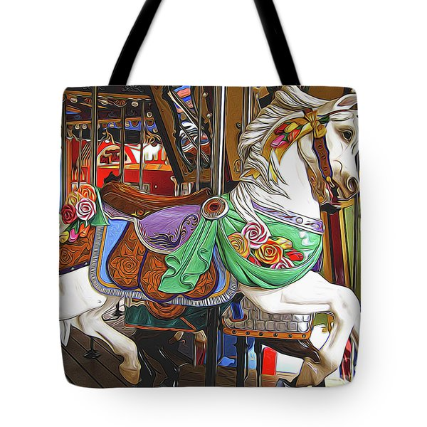 Carousel Horse Side View Tote Bag