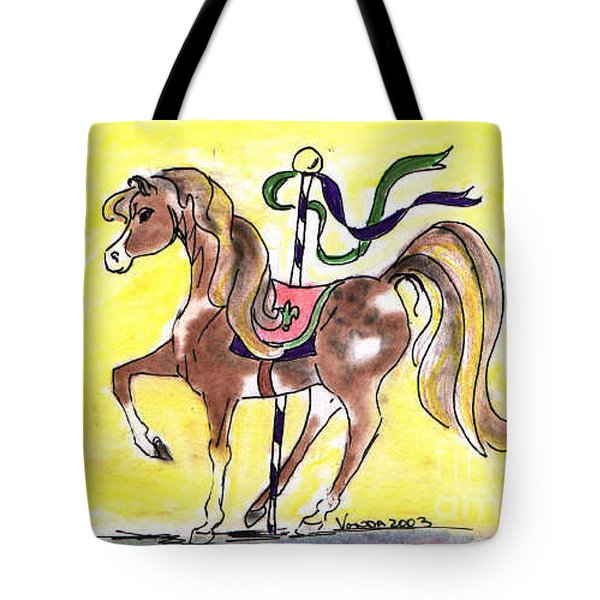 Tote Bag featuring the drawing Carousel Horse by Vonda Lawson-Rosa