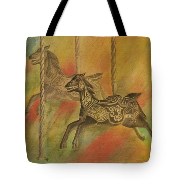 Tote Bag featuring the drawing Carousel Horses by Lynn Hughes