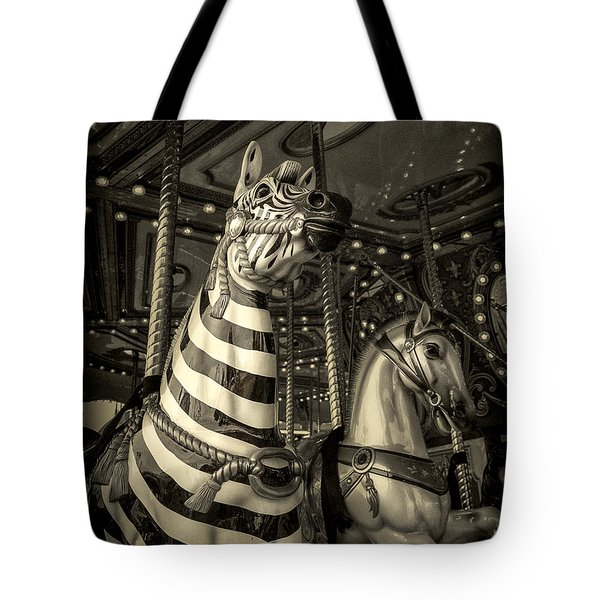 Carousel Zebra Tote Bag by Caitlyn Grasso