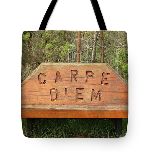 Tote Bag featuring the photograph Carpe Diem Bench by Art Block Collections
