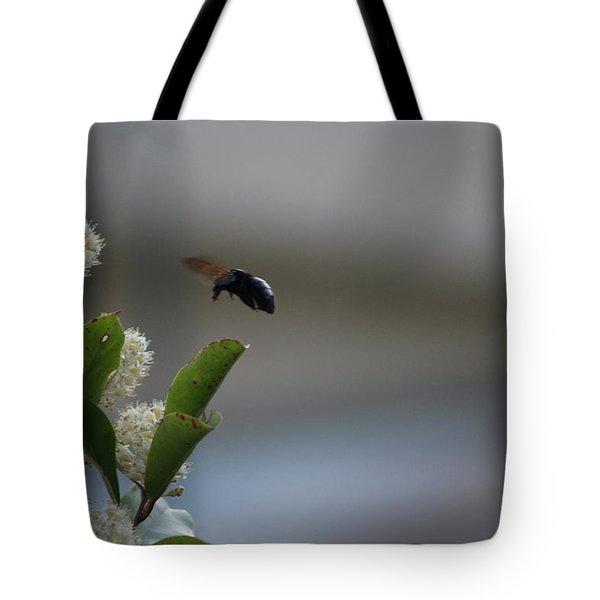 Carpenter Bee Landing Tote Bag by Colleen Cornelius