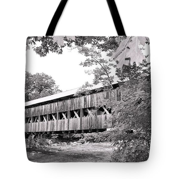 Carrol County Covered Bridge In Black And White Tote Bag