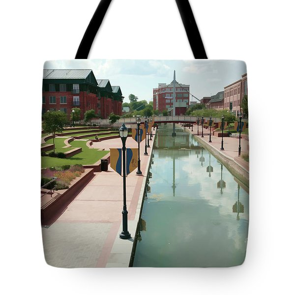 Carroll Creek Park In Frederick Maryland With Watercolor Effect Tote Bag