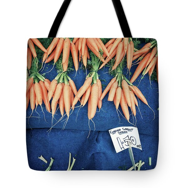 Carrots At The Market Tote Bag by Tom Gowanlock