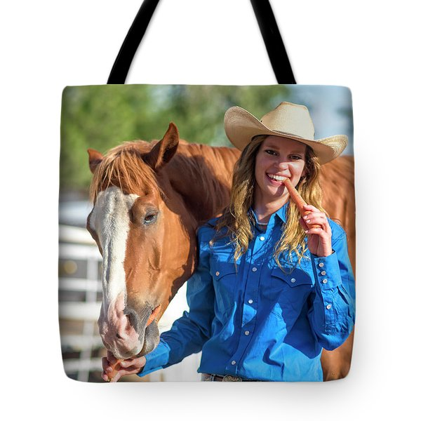 Carrots,cowgirls And Horses  Tote Bag
