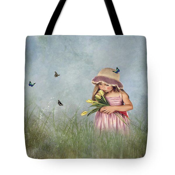 Carrying Tulips For You Tote Bag by Mary Timman