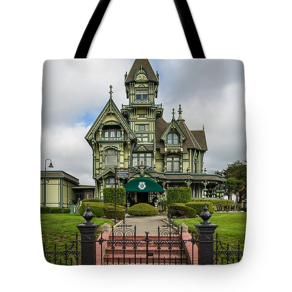 Carson Mansion In Winter Tote Bag by Greg Nyquist