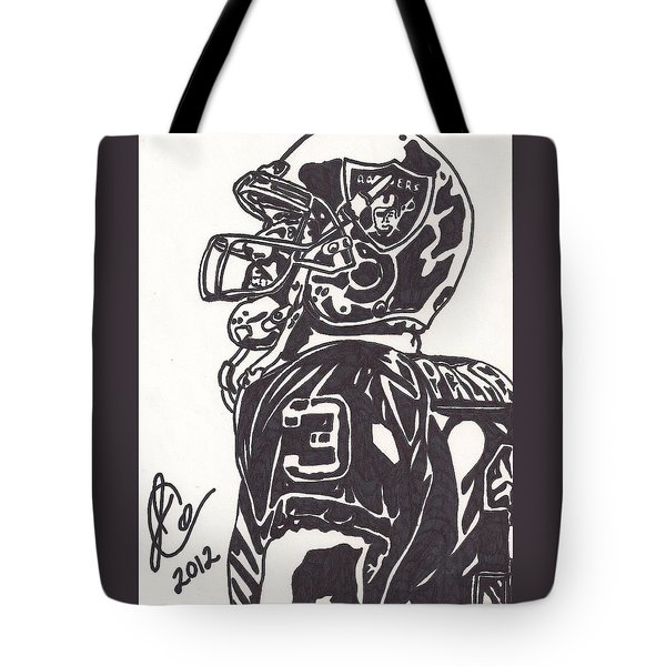 Tote Bag featuring the drawing Carson Palmer 1 by Jeremiah Colley