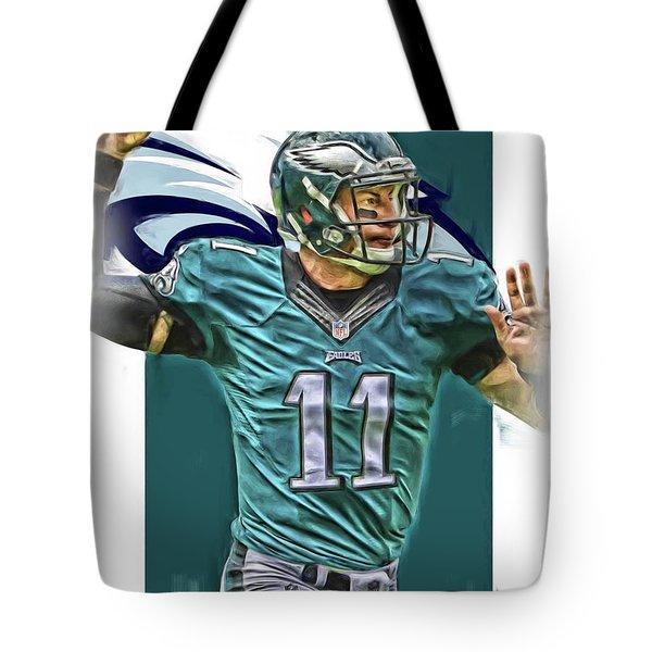 Carson Wentz Philadelphia Eagles Oil Art Tote Bag