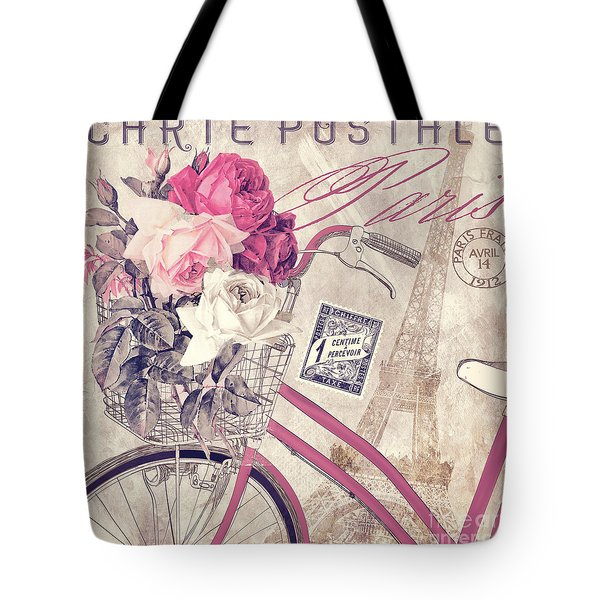 Carte Postale Bicycle Tote Bag by Mindy Sommers
