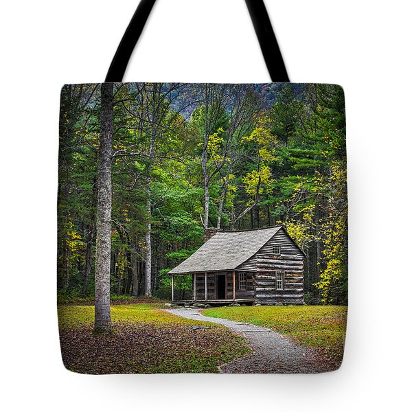 Carter Shields Cabin In Cades Cove Tn Great Smoky Mountains Landscape Tote Bag