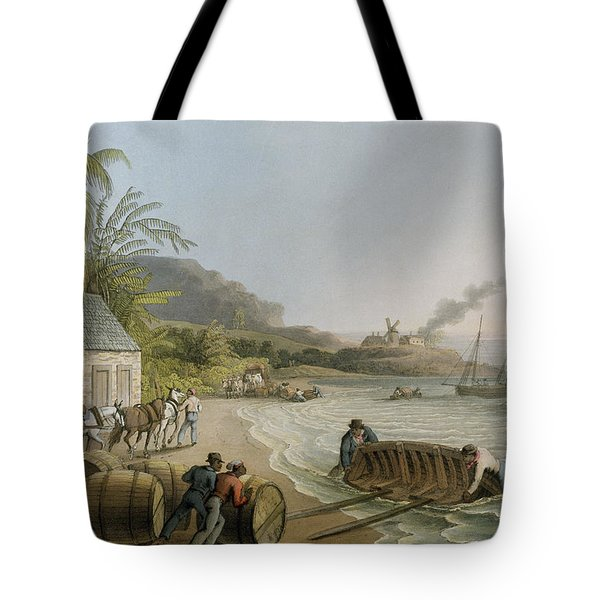 Carting And Putting Sugar Hogsheads On Board Tote Bag by William Clark