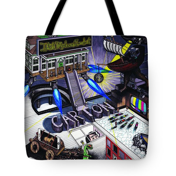 Tote Bag featuring the drawing Carton Album Cover Artwork Front by Richie Montgomery