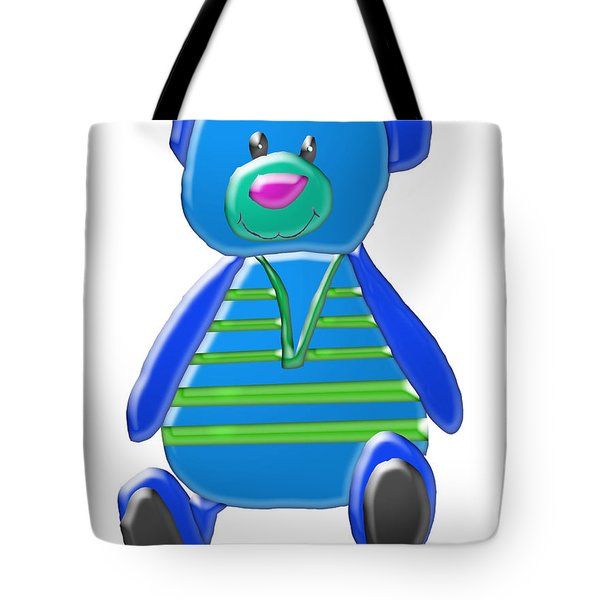 Tote Bag featuring the digital art Cartoon Bear In Sweater Vest by Karen Nicholson