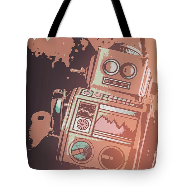 Cartoon Cyborg Robot Tote Bag