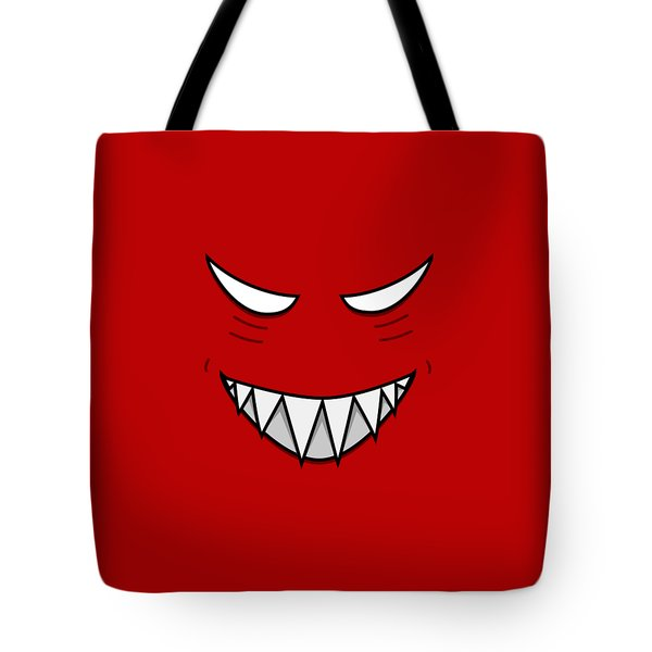 Cartoon Grinning Face With Evil Eyes Tote Bag