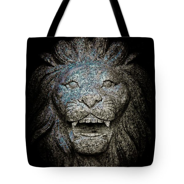 Carved Stone Lion's Head Tote Bag by Loriental Photography