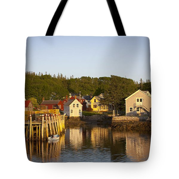 Tote Bag featuring the photograph Carvers Harbor At Sunset, Vinahaven, Maine by Michele A Loftus