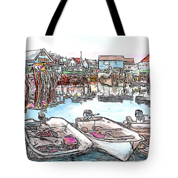 Carvers Harbour With Boats , Vinal Haven,  Maine Tote Bag