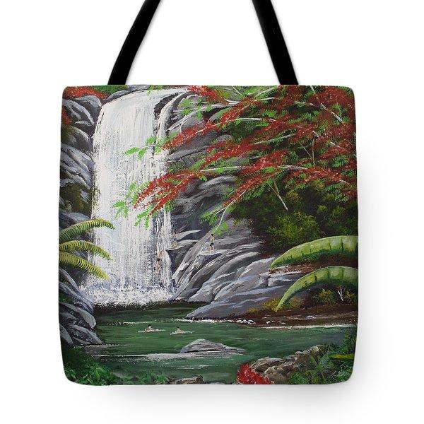 Cascada Tropical Tote Bag