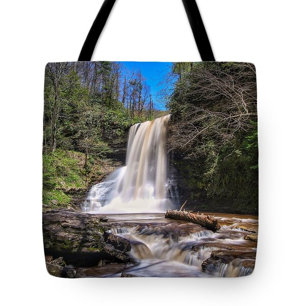 Cascade Falls In Spring Tote Bag