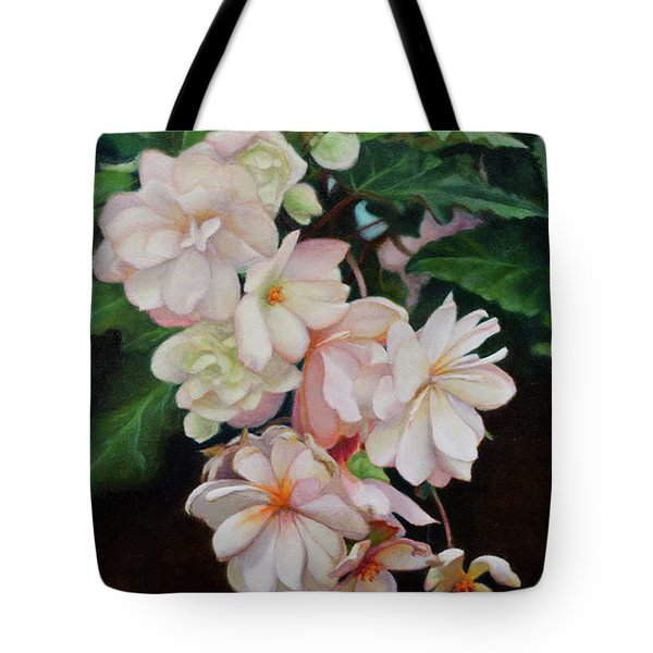 Tote Bag featuring the painting Cascade Of Begonias  by Margit Sampogna