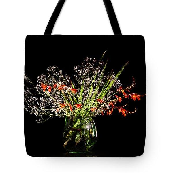 Cascade Of White And Orange. Tote Bag