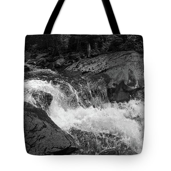 Tote Bag featuring the photograph Cascade Stream Gorge, Rangeley, Maine  -70756-70771-pano-bw by John Bald