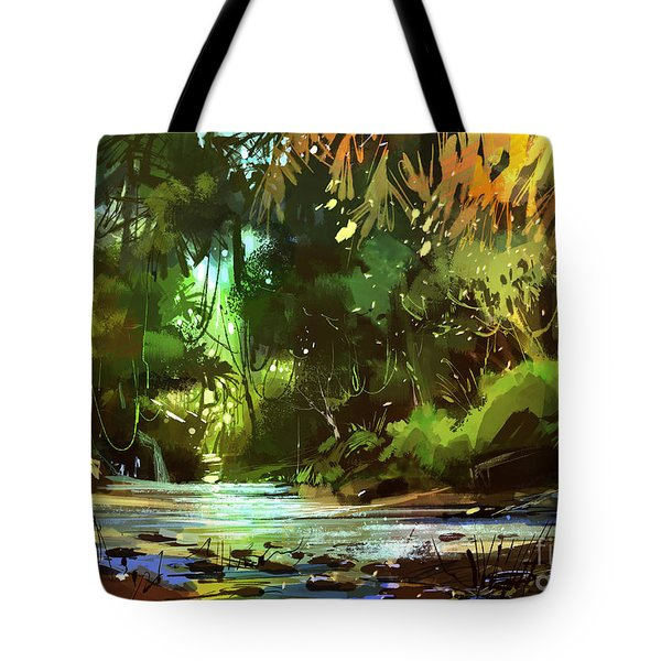 Tote Bag featuring the painting Cascades In Forest by Tithi Luadthong