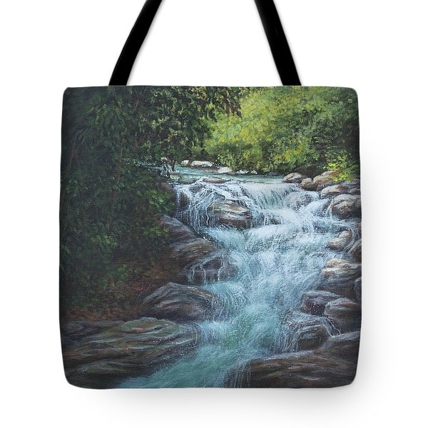 Tote Bag featuring the painting Cascading Stream by Kim Lockman