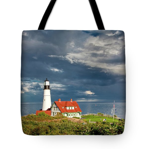 Tote Bag featuring the photograph Casco Bay Lookout by Susan Cole Kelly