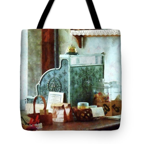 Tote Bag featuring the photograph Cash Register In General Store by Susan Savad