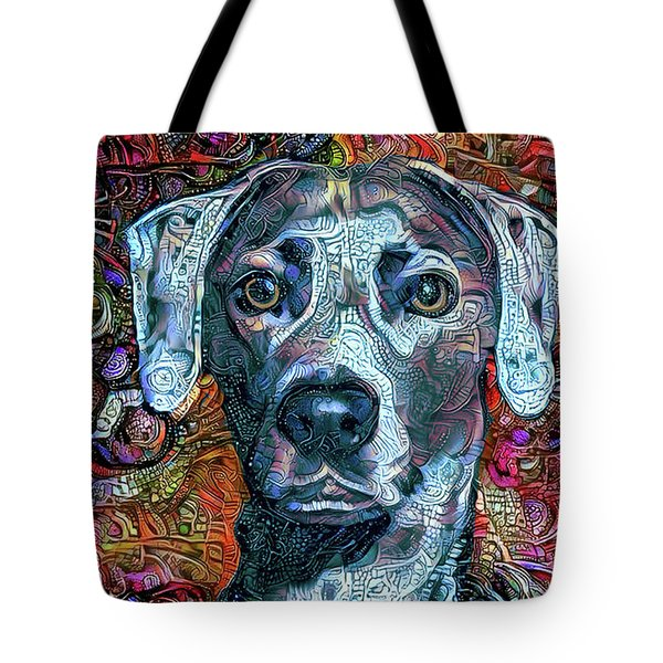 Tote Bag featuring the mixed media Cash The Blue Lacy Dog by Peggy Collins