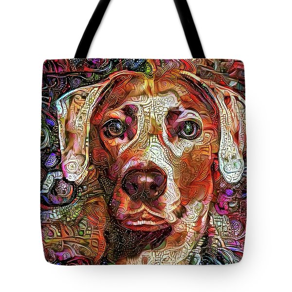 Tote Bag featuring the mixed media Cash The Lacy Dog by Peggy Collins