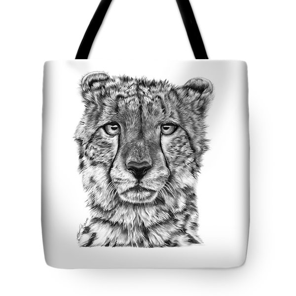 Tote Bag featuring the drawing Cassandra The Cheetah by Abbey Noelle