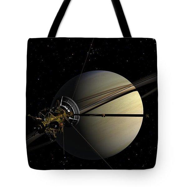 Cassini Orbiting Saturn Tote Bag