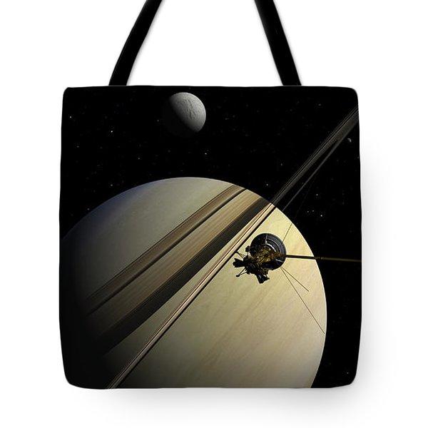 Cassini Passing Tethys Tote Bag