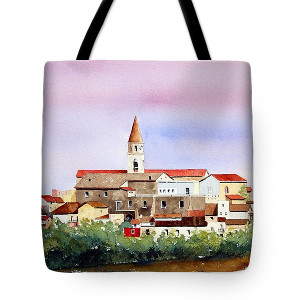 Tote Bag featuring the painting Castelnuovo Della Daunia by William Renzulli