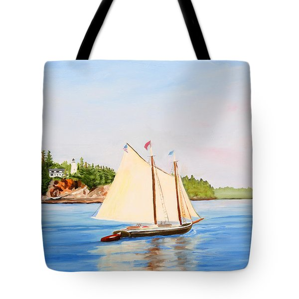 Castine Harbor And Dice Head Light Tote Bag