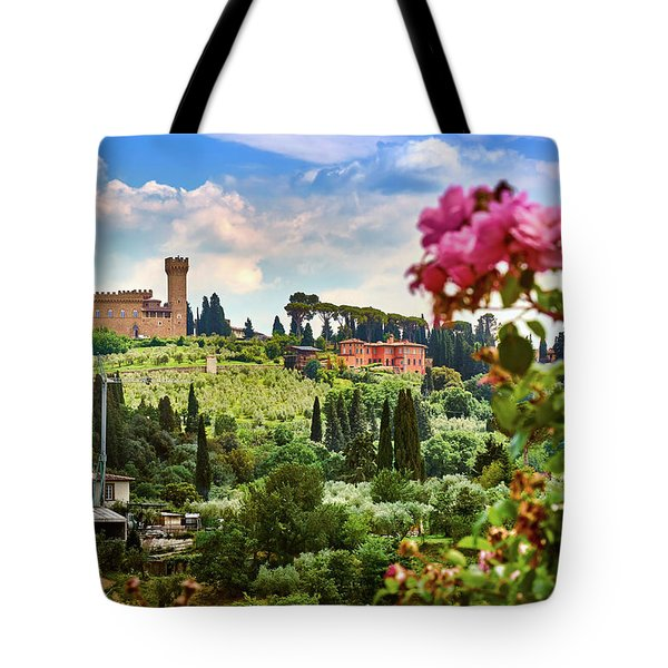 Roses And Castle On Green Tuscan Landscape In Florence, Italy Tote Bag