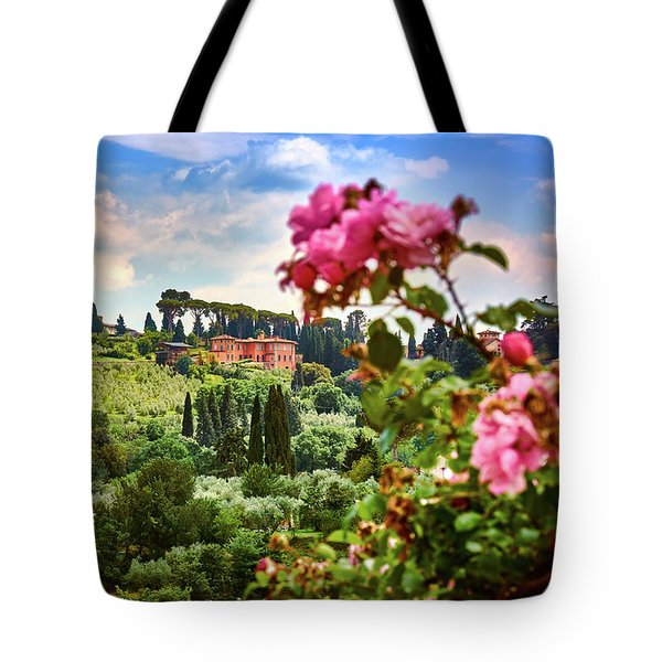Castle And Roses In Firenze Tote Bag